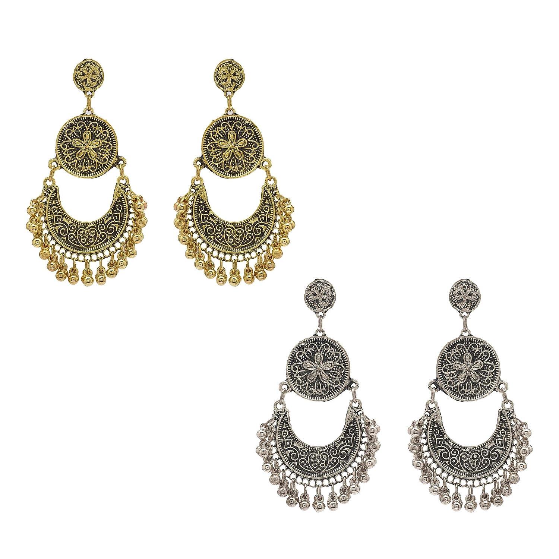 Zephyrr Afghani//Ethnic Gold//Silver Alloy Chandbali Earrings Combo Of 2 Layered CO-1262