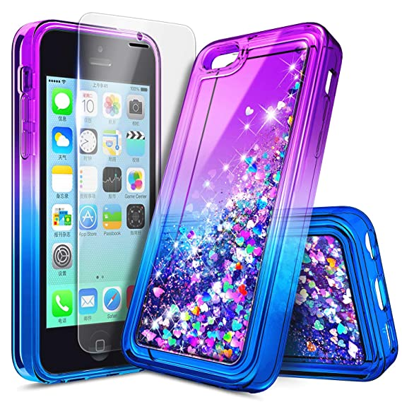 outlet store cf18f a490e iPhone 5C Case with Screen Protector HD Clear for Girls Kids Women, NageBee  Glitter Liquid Quicksand Waterfall Floating Flowing Sparkle Shiny Bling ...