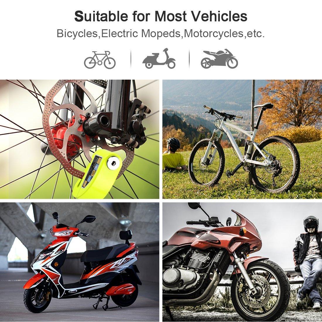 Candado de Disco Moto para con Alarma Antirrobo 110dB, AGPTEK S5 Candado Bloqueo Aluminio para Moto, Motocicleta, Scooter-Verde: Amazon.es: Coche y moto