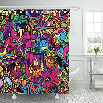 TOMPOP Shower Curtain Green Trippy 60S Hippie Psychedelic Crazy Cat Demon Drug Waterproof Polyester Fabric 60