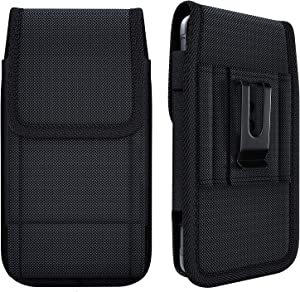 NUVAVO Nylon iPhone 12 (2020) iPhone 12 Pro iPhone 11 iPhone XR Holster Belt Case with Belt Clip Cell Phone Belt Holder Carrying Pouch Cover (Fits Phones with Otterbox/Battery Case on) Black