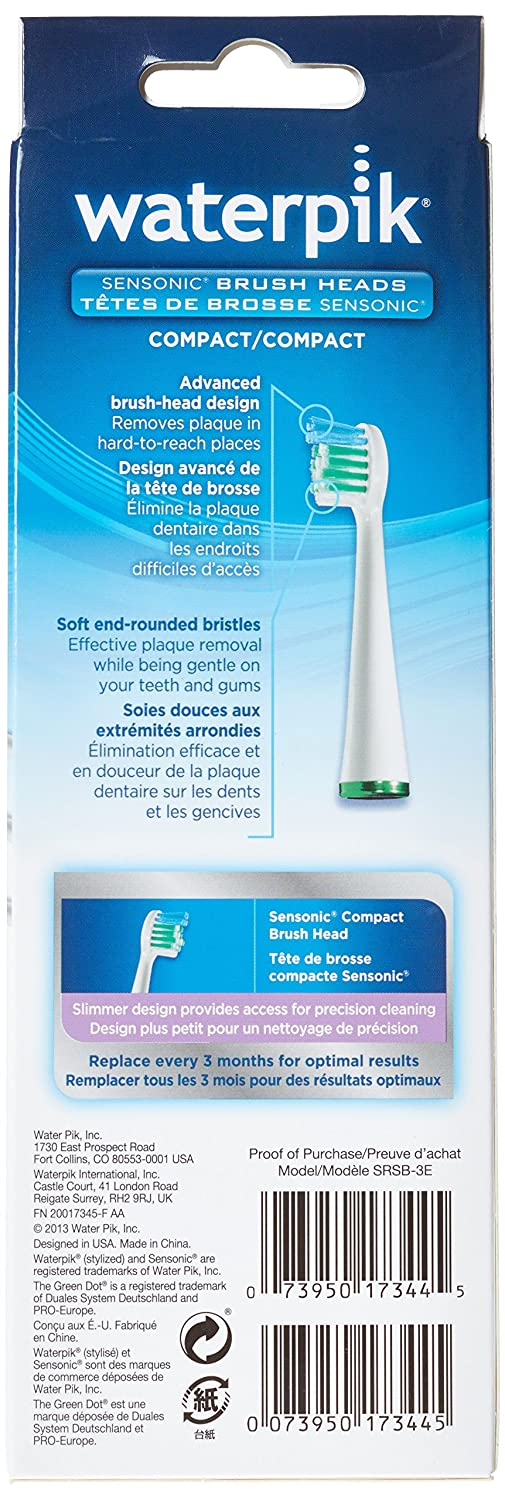 Amazon.com: Waterpik SRSB-3 Compact Brush Head Compatible with ...