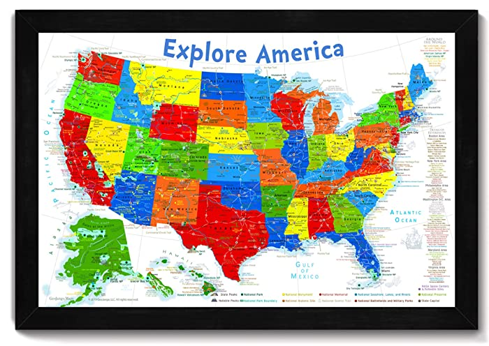 : USA Map for Kids Push Pin Tracking Map eller Wall   : USA-kort til børn   title=          Push Pin Tracking Map or Wall