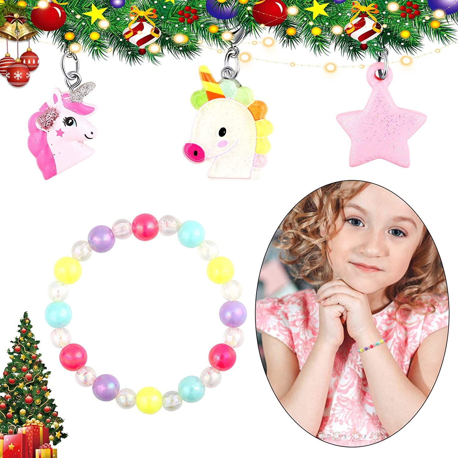 B Bascolor Kids Advent Calendar 2020 Christmas Countdown Calendar with 24pcs Fashion Jewelry Hair Accessories for Girls