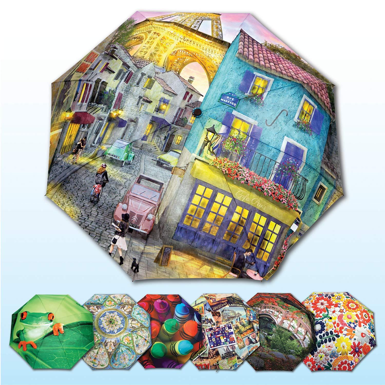 Springbok Eiffel Magic Compact Travel Size Full Size Canopy Umbrella with Auto Open/Close Button