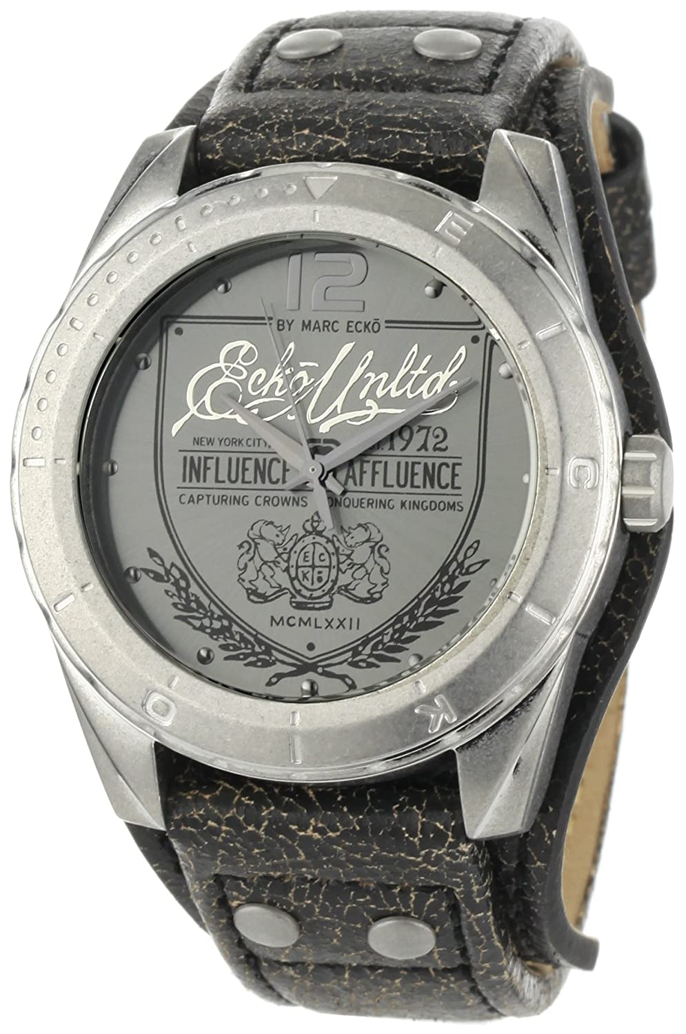 Amazon.com: Marc Ecko Men's E11518G1 The Daily Black Leather Cuff Watch:  Watches