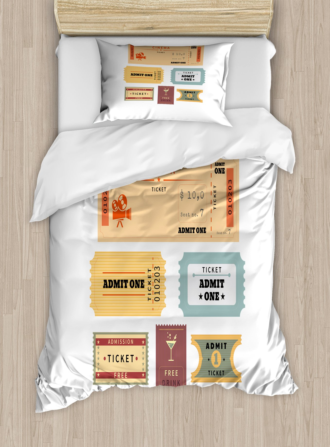 Ambesonne Movie Theater Duvet Cover Set Twin Size, Different Retro Tickets for Cinema and Other Events Vintage Illustration, Decorative 2 Piece Bedding Set with 1 Pillow Sham, Multicolor