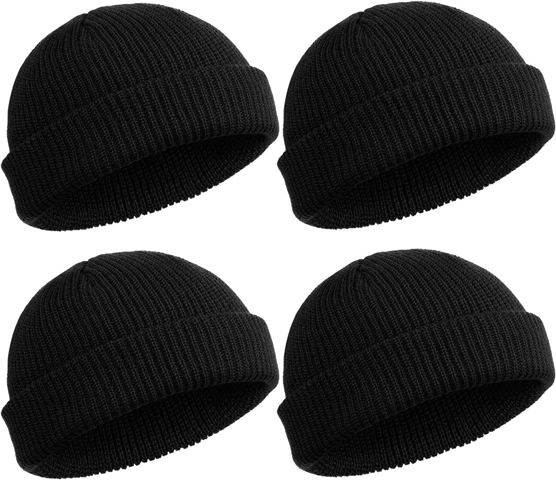 Amazon Com Satinior 4 Pieces Trawler Beanie Watch Hat Roll Up Edge Skullcap Fisherman Beanie Unisex Black Clothing