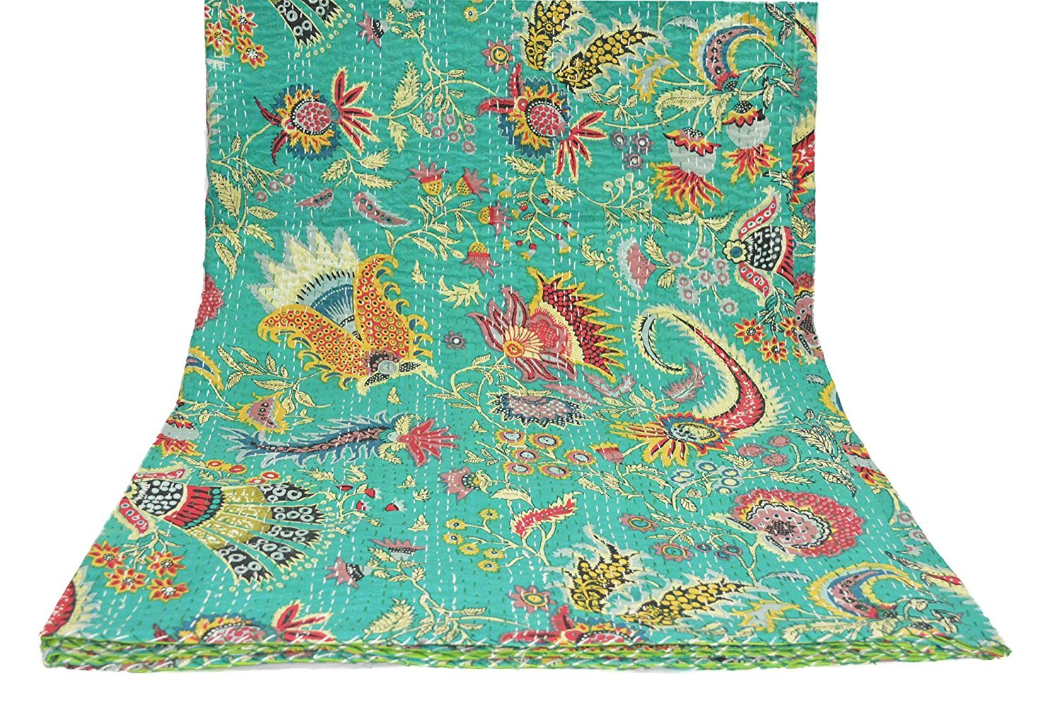 Twin Mukut Print Single Kantha Quilt, Kantha Blanket, Bed Cover, Twin Kantha bedspread, Bohemian Bedding Size 60X90 Inch (Multi) Sophia Art