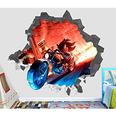 "Sonic Shadow The Hedgehog Wall Decal Sticker - Kids Wall 3D Decor - Art Vinyl Wall Decal - OP187 (Small (Wide 22"" x 16"" Height) ): Home & Kitchen"