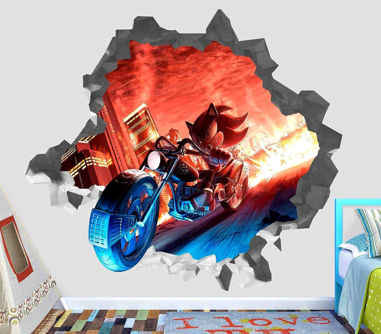 Amazon Com Sonic Shadow The Hedgehog Wall Decal Sticker Kids Wall 3d Decor Art Vinyl Wall Decal Op187 Small Wide 22 X 16 Height Home Kitchen
