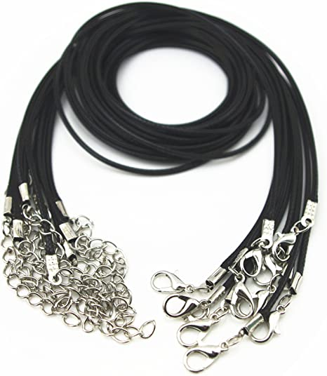 Free Shipping 100pcs real leather black necklace cord 24 inches