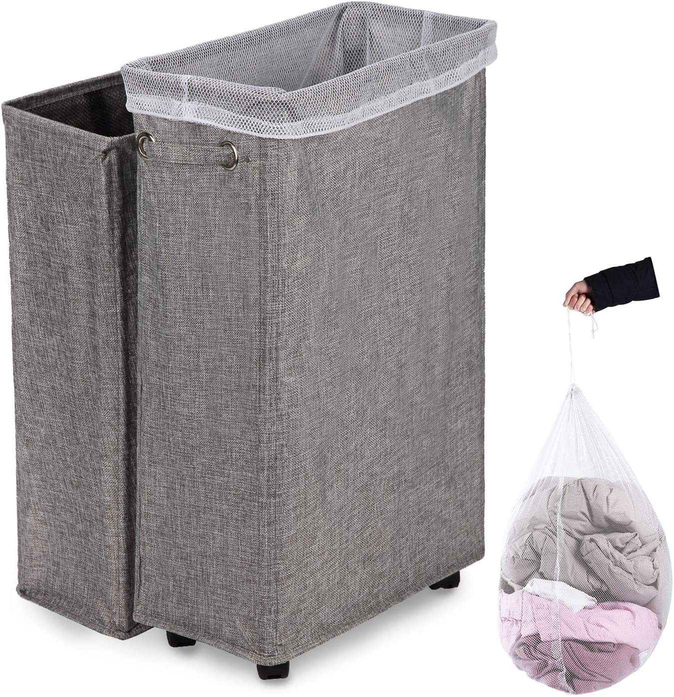 "Caroeas Laundry Hamper, 27"" Burlap Rolling Laundry Hamper Collapsible Tall & Slim Laundry Basket with Breathable Wash Bag Waterproof & Dustproof Laundry Cart on Wheels (Grey Linen)"