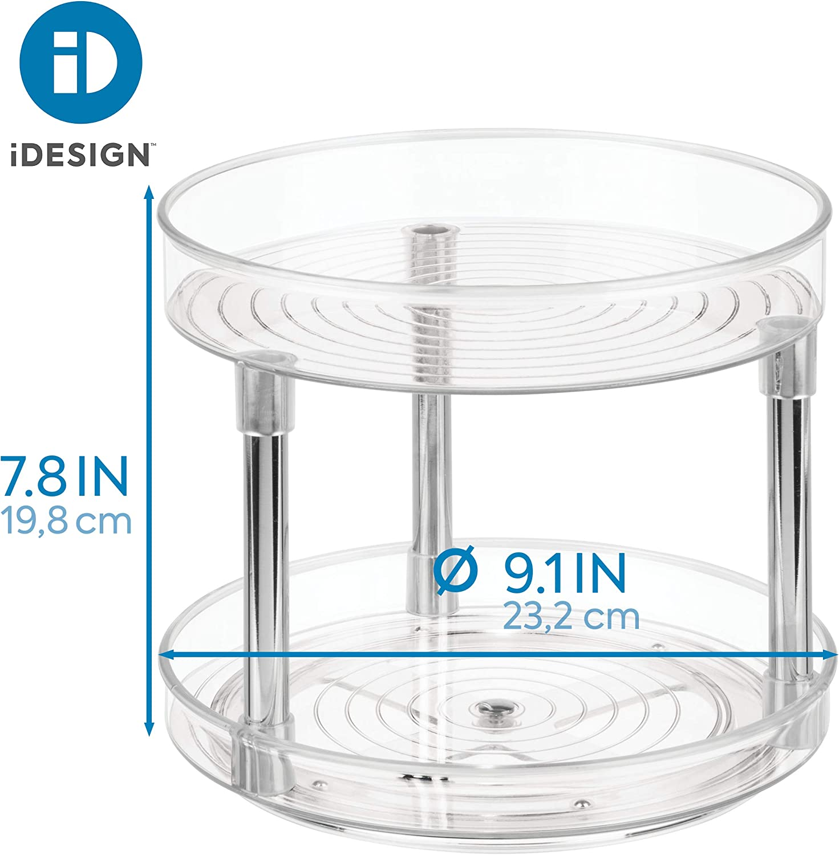 Porta spezie ideale anche per conserve e altri utensili Portaspezie girevole in plastica priva di BPA trasparente iDesign Organizer cucina a 2 livelli