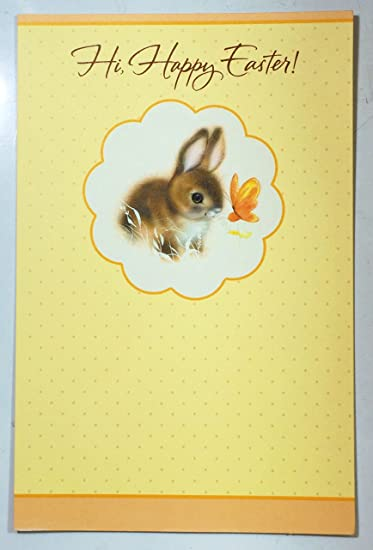 Amazon easter cards baby bunny hi happy easter american easter cards baby bunny hi happy easter american greetings 6 pack m4hsunfo
