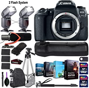Canon EOS 77D DSLR Camera (Body Only) + 2 Flash System with Deluxe Accessory Kit (4-Pack Photo/Video Editing Software, Pro Microphone w/Windshield and More)
