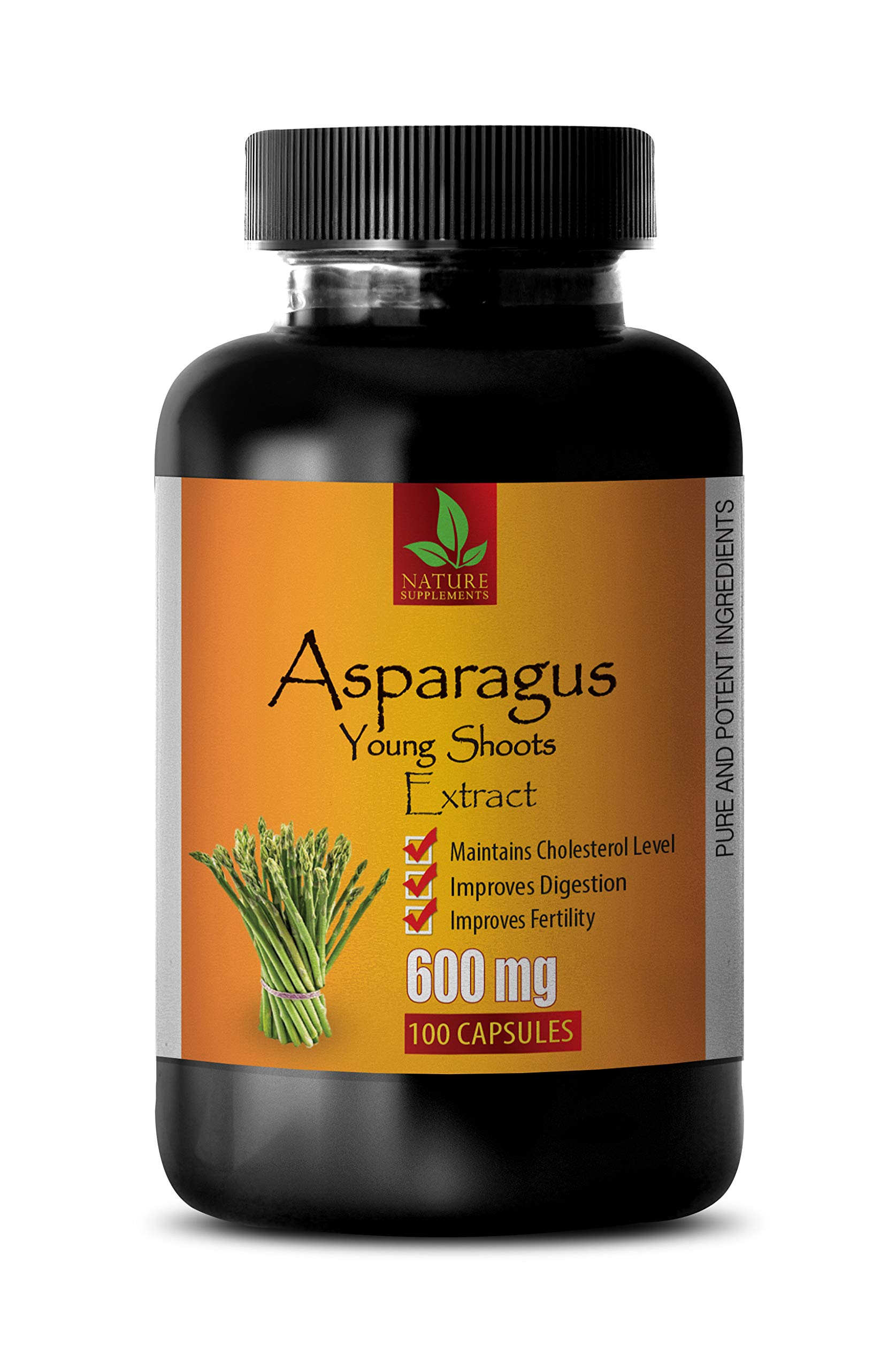 Diuretic and Anti-inflammatory Pill - Asparagus Young Shoots Extract 600 MG - Pure and Potent Ingredients - Asparagus Capsules 600mg - 1 Bottle 100 Capsules by NATURE SUPPLEMENTS