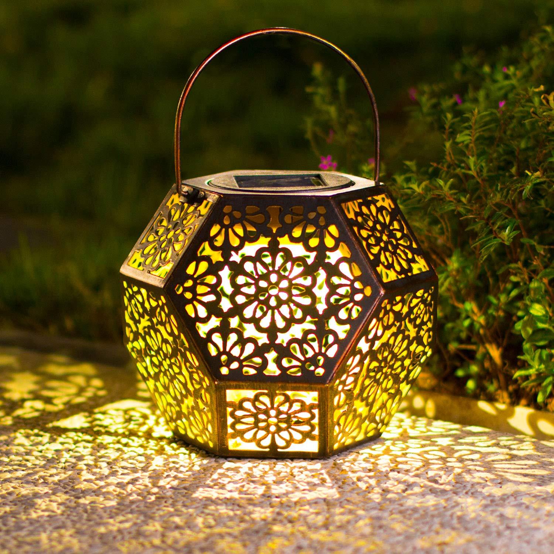 Solar Big Lantern Hanging Garden Outdoor Lights Metal Waterproof LED Table Lamp Decorative (Blue) (Blue) (Bronze)