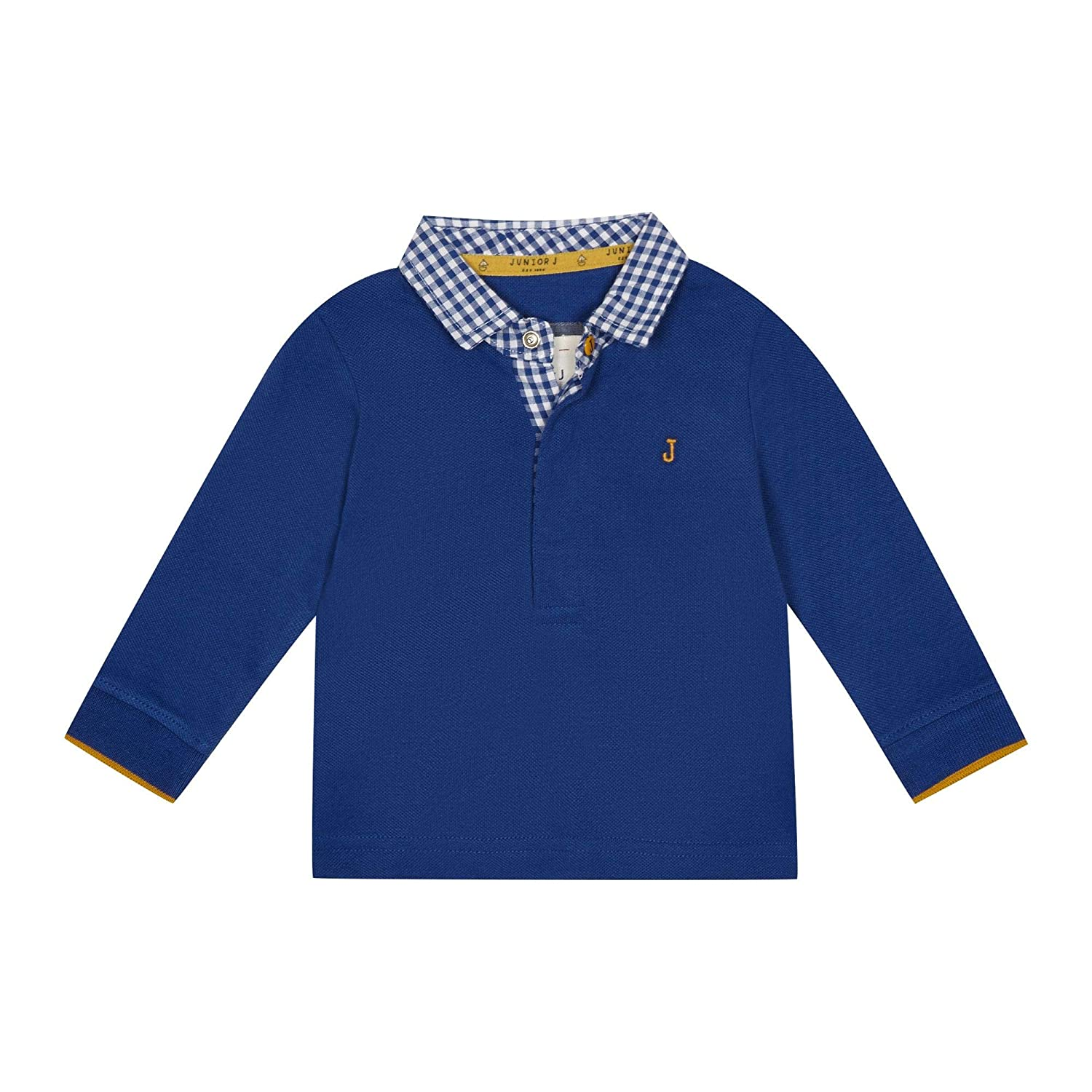 J by Jasper Conran Kids 'Baby Boys' Blue Gingham Collar Long Sleeve Polo Top