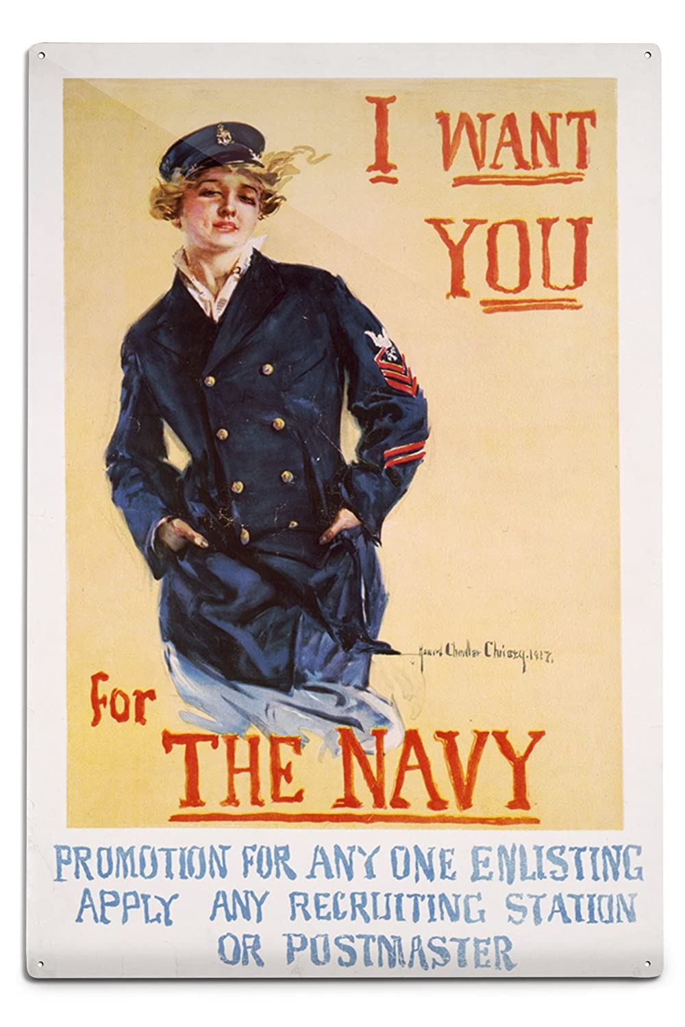 US Navyヴィンテージポスター – I Want You For The Navy 12 x 18 Metal Sign LANT-51393-12x18M 12 x 18 Metal Sign  B06Y1J1CTT