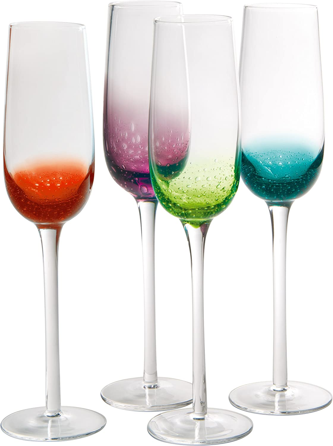 Artland Fizzy Assorted Color Flute Bar Glass Set of 16