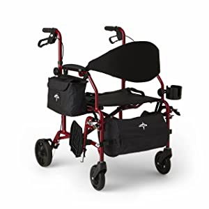 Medline Red Combination Rollator and Transport Chair, Desk-Length Arms, Swing Away Footrests, Red Frame