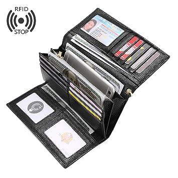 Carteras Mujer Piel Monederos de Mujer RFID Bloqueador Billeteras Larga Cartera para Mujer con Gran Capacidad: Amazon.es: Equipaje