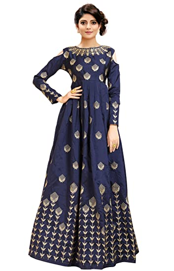 b38eb72a86 Siddeshwary Fab Women s Navy Blue Taffeta Silk Embroidered Gown for Women  (G 04 Blue Priya Gown)  Amazon.in  Clothing   Accessories