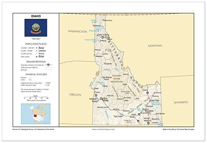 Amazon.com : 13x19 Idaho General Reference Wall Map - Anchor Maps ...