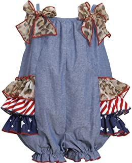 066d15d9b3f Baby Girls Blue Chambray Stars Stripes Side Tier Patriotic Americana Romper