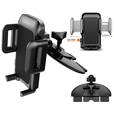 Pokanic Car Cell Phone GPS CD Slot Mount Holder 360 Rotation Three-Side Grips One-Touch Design Compatible with iPhone 11/11Pro/11Pro Max/Xs MAX/XR/XS/X/8/8Plus Galaxy S10/S10+/S10e (CD Slot Mount)