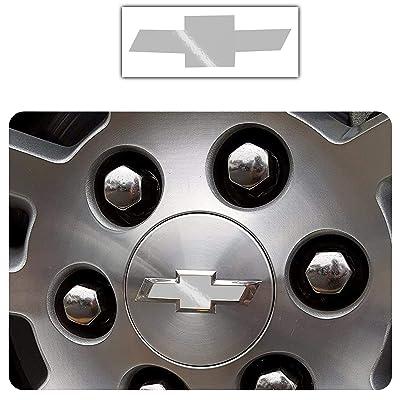Bogar Tech Designs - Pre Cut Center Wheel Cap Vinyl Decal Sticker Compatible with Chevy Silverado 2020, Gloss Silver: Automotive