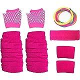 Neon Pink Gloves, Sweatbands, Headband, Leg Warmers, Bangles