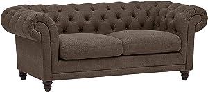 "Stone & Beam Bradbury Chesterfield Tufted Loveseat Sofa Couch, 78.7""W, Warm Grey"