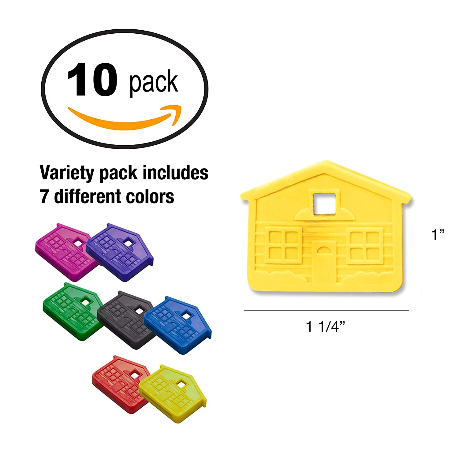 Lucky Line House Key Caps, 10 Pack, Assorted Colors (1620010)