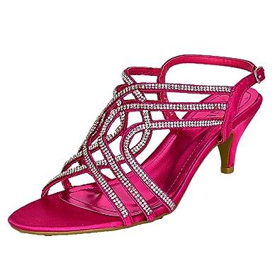 04bc5e5c04d WeHeartShoes Ladies Diamante Strappy Satin Shoes Low Heel Slingback Sandals  Open Toe Size UK 4