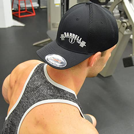bc59a1ea867a0 Barbell 1 Flexfit Fitted Cool Dry Hat - Powerlifting Bodybuilding Cap at  Amazon Men s Clothing store