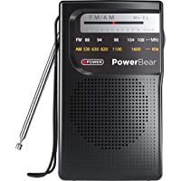 PowerBear Portable Radio | AM/FM, 2AA Battery Operated with Long Range Reception for Indoor, Outdoor & Emergency Use…