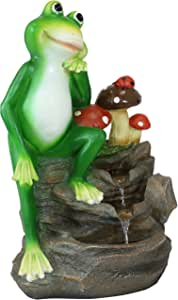 Sunnydaze Mindful Frog Outdoor Water Fountain - Resin Mini Water Fountain - Perfect Garden Decor Accent for Lawn, Patio, Front Porch or Deck - Corded Electric -23-Inch