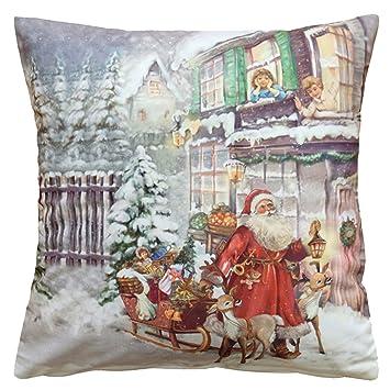 Kuschelweiche Kissenhülle 40x40 Cm Weihnachtsmann Am Haus Weihnachten Winter Dekokissen Kurzvelours Soft Touch Kissenbezug Kissen Weihnachtsmann Am