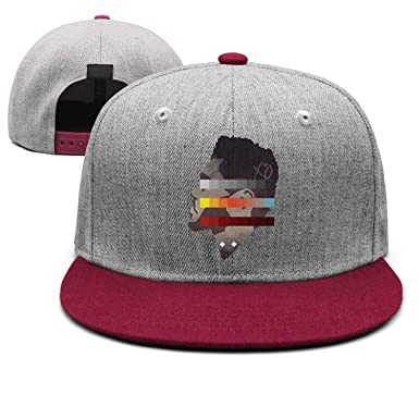 Image Unavailable. Image not available for. Color  The Weeknd Side Face  Colorful Painting Unisex Burgundy Trucker Hat for Mens Womens Sport Caps f1b7b4fc1205