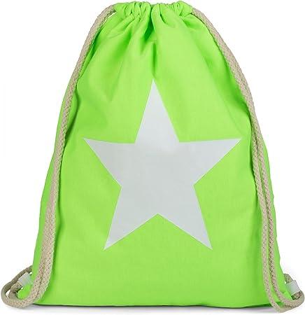 Bolsa para el Gimnasio Color:Fucsia ne/ón//Blanco Mochila con Estampado de Estrella Bolsa Unisex 02012088 styleBREAKER Bolsa de Deporte