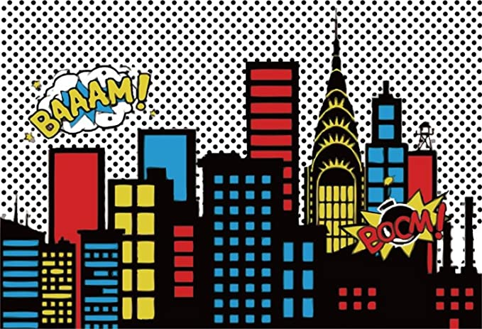 8x12 FT Chicago Skyline Vinyl Photography Backdrop,Cute Cartoon Style Childish City View with Colorful Buildings Caricature Background for Baby Shower Bridal Wedding Studio Photography Pictures