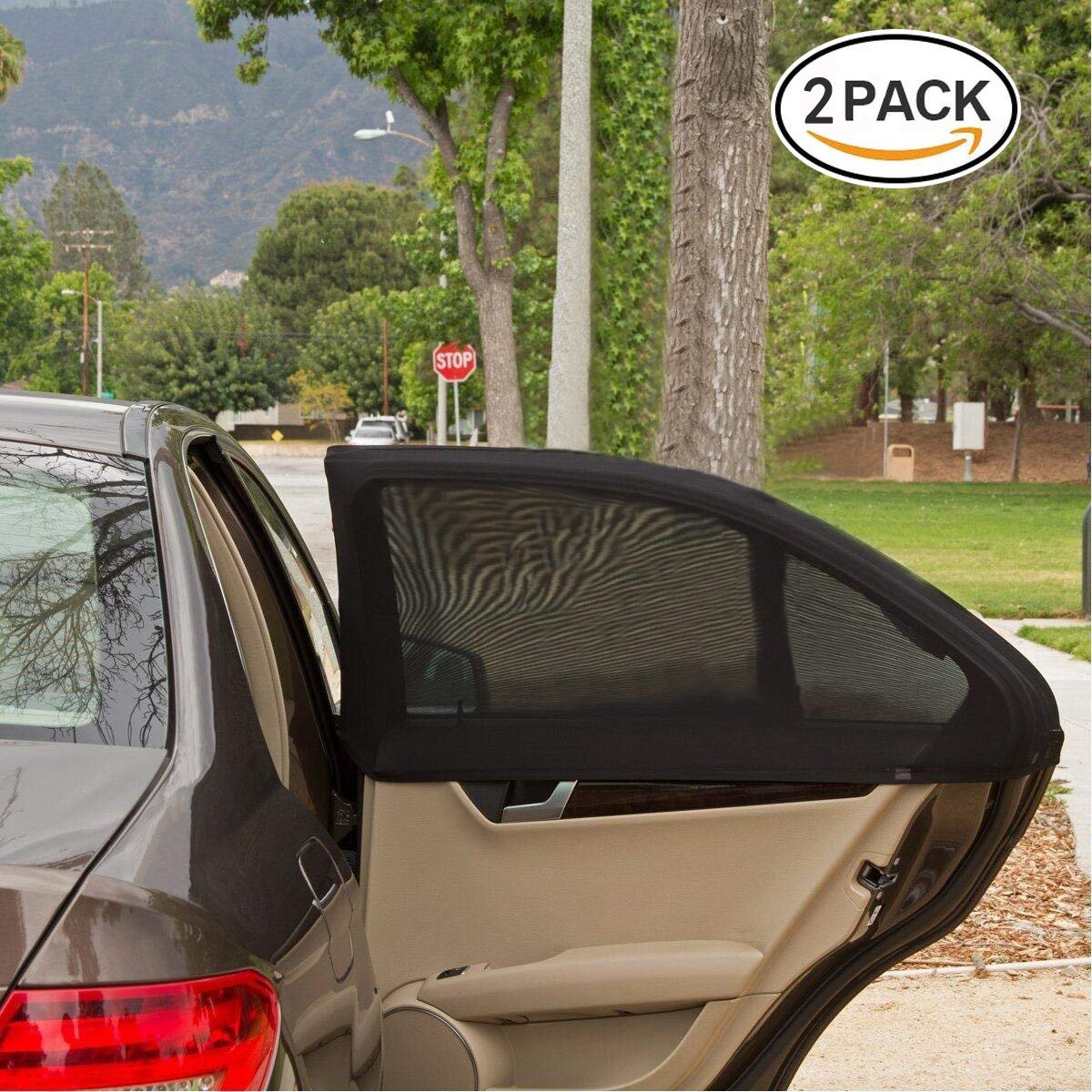 Car Window Shade, COMPATH Car Sun Shades Cover, Universal Fit Premium Quality Twin Pack Covering Entire Rear Side Window Provides Maximum UV Protection Allowing Window to Open and Shut - Medium Size - 2 Pack