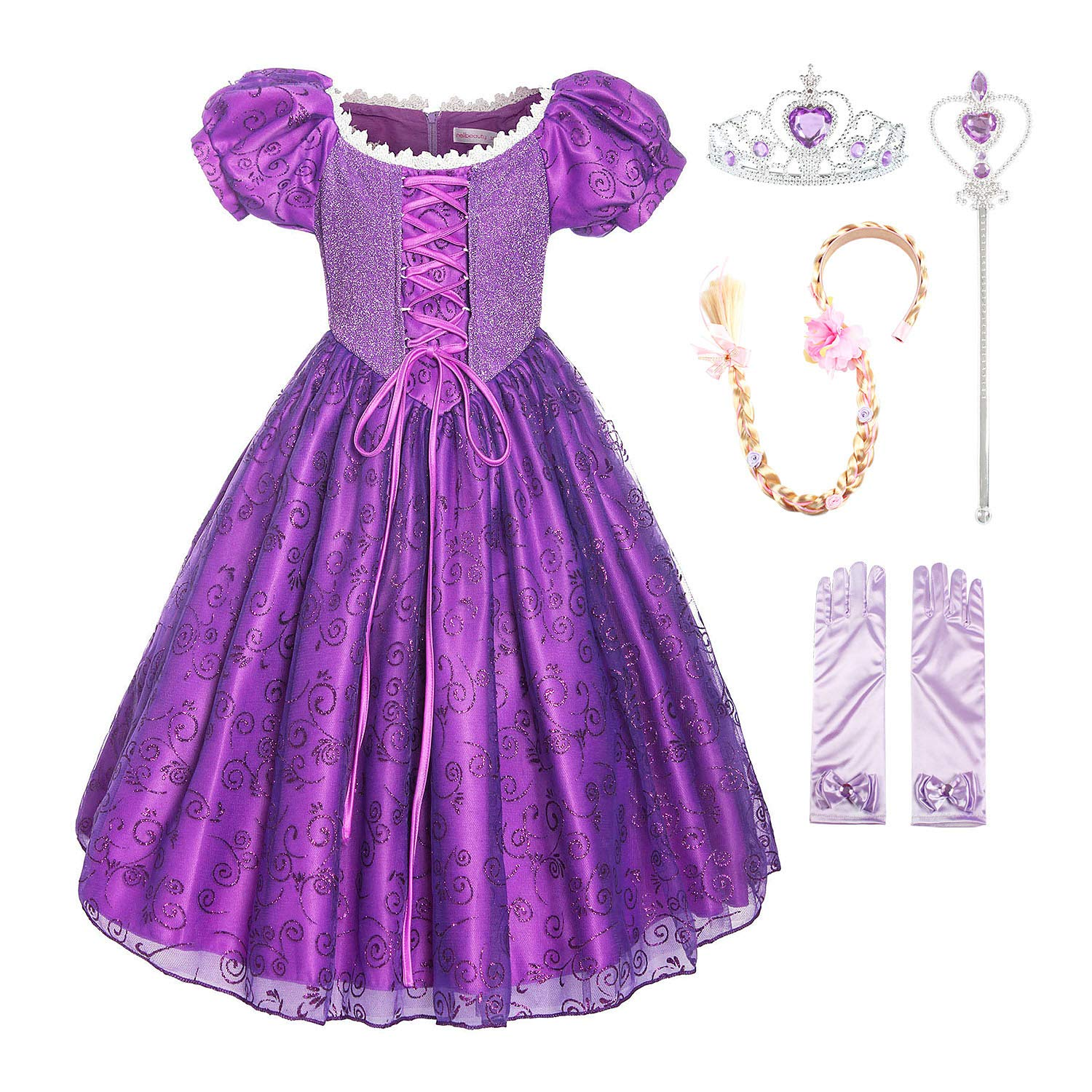 ReliBeauty Girls Princess Tangled Rapunzel Lace up Dress Costume with Accessories, 4T-4/110