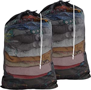 Wanapure Commercial Large Mesh Laundry Bag, 2 Pack Heavy Duty Drawstring Bag with Cord Lock and Sturdy Thicker Mesh Material for Factories, College, Dorm, Storage (24''x 36''), Black
