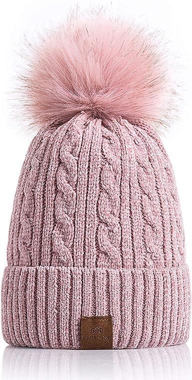 Womens Ladies Striped Winter Pom Pom Bobble Ski Beanie Hat Fur Fleece Lined NEW