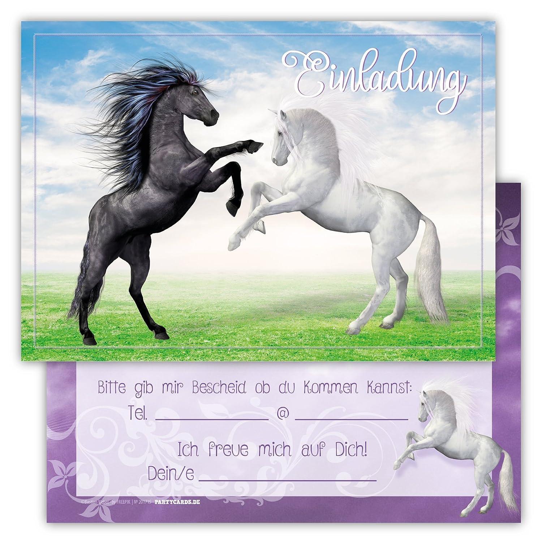 12 Lustige Einladungskarten Set Kindergeburtstag Pferden Himmel