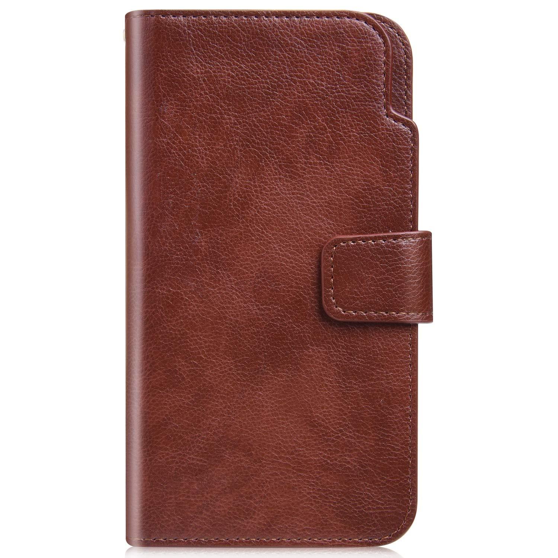 JCKHM compatible avec Coque iPhone 6 plus/6S plus Cuir Etui en Cuir PU Housse Pochette,Étui en cuir de couleur unie pour portefeuille de neuf cartes [Anti Choc] Flip Case,Gris