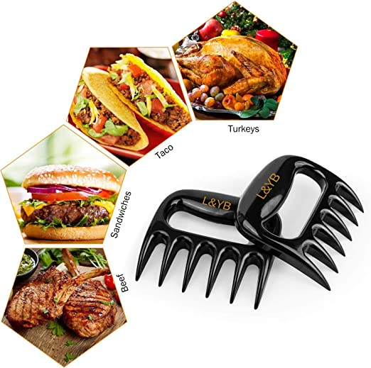 Meat Carving and Lifting Easy to Care Heavy Duty Meat Shredding Forks Heat Resistant Sharp Meat Shredder Claws for BBQ Grill L/&YB Pulled Pork Shredder Claws